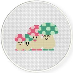 FREE for August 7th 2015 Only - Mushroom Family Cross Stitch Pattern