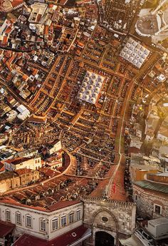 """Photographer Aydin Büyüktas' background in film and visual effects really shows in """"Flatland"""", a cinematic series of drone footage digitally manipulated to create shots of Istanbul which seem to fold over on themselves. Büyüktas must have loved Inception. City Landscape, Urban Landscape, Film Inception, Fotografia Drone, Roadtrip Europa, Istanbul City, Istanbul Turkey, Istanbul Travel, Capture Photo"""