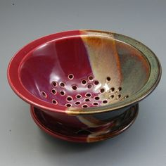 Pottery Berry Bowl Colander Plum Red Brown by MarksPottery on Etsy,