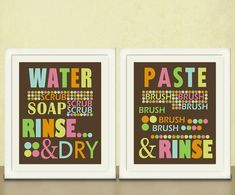 Bathroom Art for Kids Wash Your Hands Brush by pit Baby Bathroom, Bathroom Art, Bathroom Colors, Childrens Bathroom, Bathroom Stuff, Design Bathroom, Painting Bathroom Cabinets, Bathroom Cabinet Organization, Kids Bath