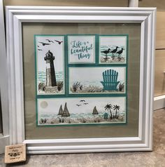 Stampin' Up' High Tide stamp set, Waterfront stamp set, Colorful Seasons stamp set, Coastal Cabana Cardstock and ink pad, Crumb Cake Cardstock and ink. High Tide Stampin Up, Lighthouse Gifts, Box Frame Art, Shadow Box Frames, Diy Birthday Decorations, Birthday Crafts, Nautical Cards, Beach Cards, Masculine Birthday Cards