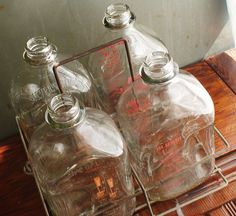 Glass milk bottles ~ we would get 4 half gallon bottles delivered 3 times a week. Went through a lot of milk in those days.
