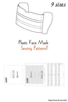 This is the pattern of a Pleats Face Mask. inch size(letter size) cm size) Best Picture For face mask pattern For Your Taste You are looking for … Sewing Projects For Beginners, Sewing Tutorials, Sewing Hacks, Sewing Tips, Small Sewing Projects, Sewing Crafts, Sewing Patterns Free, Free Sewing, Free Pattern