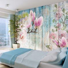 papier peint imitation lambris peint déco fleurs roses (GiFi-806349X)