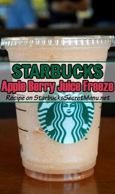 apple berry juice freeze: Apple Juice to the first line Strawberry puree to the second line Ice and blend! Starbucks Secret Menu Drinks, Starbucks Frappuccino, Starbucks Recipes, Starbucks Coffee, Berry Juice, Apple Juice, Coffe Recipes, Drink Recipes, Secret Menu Items