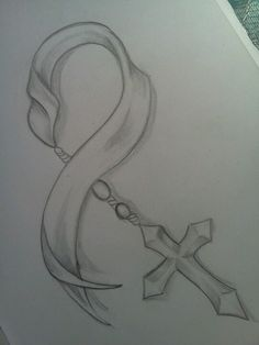 Sketch ribbon n cross