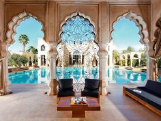 Riad Marrakech Morocco.  WOW!  Imagine sitting in this room and soaking in the view.