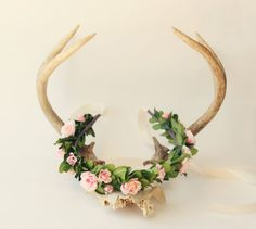 I love the idea of using antlers, but I would prefer 3 smaller ones, with the one in the middle being slightly taller.