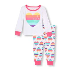 Baby Girls Baby And Toddler Long Sleeve 'I Heart My Family' Rainbow Heart Top And Pants Pj Set - White - The Children's Place