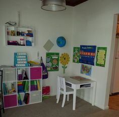 """This learning space comes from one of our 2nd graders: """"I like my school area because it is comfortable. I like having a big open space. There is also a lot of light and a big window behind me. Next to my table is the playroom. It is the best room in my house. I have puzzles, paint, pretend play and Legos."""" #LSSCommunity #LaurelSpringsSchool"""