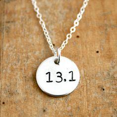 Sterling Silver 13.1 necklace  half marathon hand by JustJaynes, $19.00