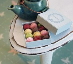 Miniature Dollhouse Food - Tiny Miniature Macaron Box by PetitPlat - Stephanie Kilgast, via Flickr