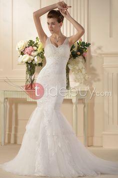 魅力的なマーメイドスパゲッティストラップノースリーブ刺繍ウェディングドレス