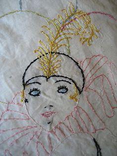 "Vintage Pillowcase Round Cover Embroidery Handmade 20's Masquerade Boudoir 15"" | eBay"