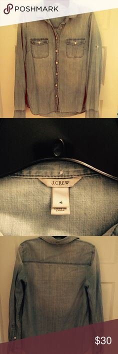 J crew. Denim button-down size 4. New last year. Warn twice. Fits like a small - medium. J. Crew Tops Button Down Shirts