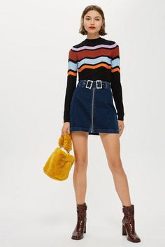 Do denim the retro-inspired way with our stylish denim skirt with double buckle detail. We're styling it with a colourful top tucked in for an on-trend look. Denim Skirt Outfits, Denim Outfit, Denim Shorts, A Line Skirts, Short Skirts, Mini Skirts, Skirt Images, Topshop, Colored Denim