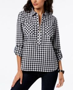 Tommy Hilfiger Cotton Half-Zip Printed Popover Top, Created for Macy's - Black XS Macys Womens Clothing, Gatsby Outfit, Party Fashion, Fashion Outfits, Fashion 2017, Hot Pink Blouses, Women's Evening Dresses, Black Tops, Tommy Hilfiger