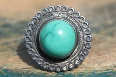 Vintage Navajo 1950s Sterling Silver & Turquoise Ring
