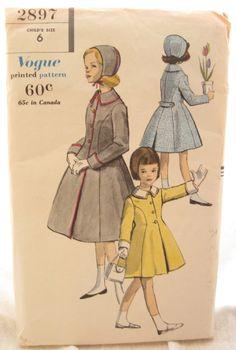 Vogue 2897 Rare 1950s Girls Princess Coat Vintage Sewing Pattern Size 6 on Etsy, $40.00