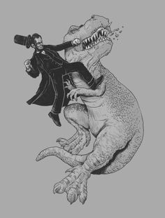Abe Lincoln fighting a Tyrannosaurus Rex. 'Nuff said.