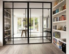 kamer ensuite modern at DuckDuckGo Style At Home, Steel Doors And Windows, Metal Windows, Glass Room Divider, Room Dividers, Home Fashion, Home And Living, Living Room, Interior Inspiration