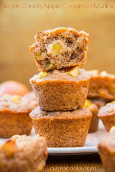 Vegan Chunky Apple Cinnamon Muffins - No eggs, no butter, no problem! You'd never guess these soft, fluffy, healthy muffins are vegan. If you've wanted to start baking with coconut oil, this is an easy recipe to try!