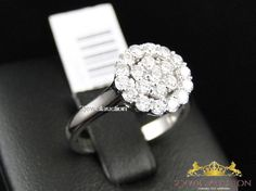 14K White Gold 1.4 Ct Round Cut Diamond Bridal Engagement Ring Ladies Wedding #2jewelauction #SolitairewithAccents