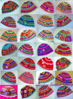 Hats made by Beates Bunter - no pattern found, great inspiration. blog looks like it's in German.  http://beatesbunterblog.blogspot.de