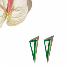 "The ""Bone-ification Earrings II"" in Green - Bone and Metal. Also available in Black, White and Turquoise. Online at www.ParmeMarin.com #ParmeMarin #Statement #Colorful"
