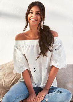 a2122c7ba Blusa ciganinha com tricô branco encomendar agora na loja on-line  bonprix.com.