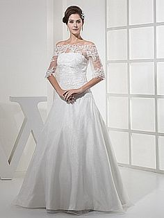 Off the Shoulder Half Sleeved Satin and Lace Wedding Gown - USD $189.00