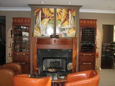 Art Deco Fireplace and club chairs Art Nouveau, Art Deco Fireplace, Art Deco Kitchen, Art Deco Furniture, Antique Furniture, Healthy Living Magazine, Cuisines Design, Wine Storage, Club Chairs