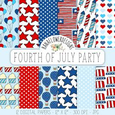"""Patriotic digital paper: """"Fourth of July"""" with patriotic patterns, independence day, stars, and dots for scrapbooking, cards, and invites"""