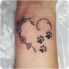 Small Dog Tattoos, Cat And Dog Tattoo, Tattoos For Dog Lovers, Wrist Tattoos For Women, Tattoos For Women Small, Mini Tattoos, Dog Print Tattoos, Dog Paw Tattoos, Family Tattoos