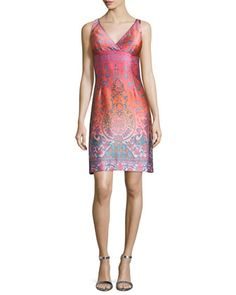 Sleeveless+Jacquard+Cocktail+Shift+Dress+by+Nanette+Lepore+at+Neiman+Marcus.