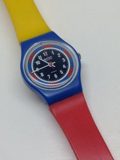 Vintage Ladies Swatch Watch Tri-Color Racer LS102 by ThatIsSoFunny