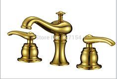 68.44$  Buy here - http://alirm9.worldwells.pw/go.php?t=32317414913 - Deck Mounted Golden Brass Bathroom Basin Faucet Dual Handles Bath Sink Mixer Tap