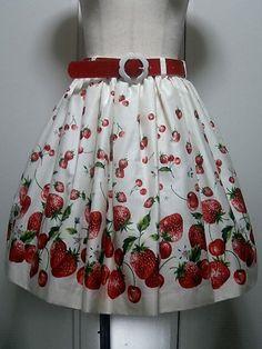 Meta Berry Stripe Skirt with Belt