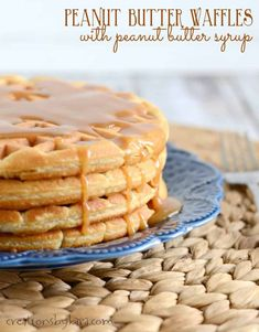 Peanut Butter Waffles - These tasty waffles are a great way to add a little more protein to your breakfast! The peanut butter syrup is absolutely divine! Peanut Butter Waffles, Peanut Butter Breakfast, Peanut Butter Recipes, Delicious Breakfast Recipes, Dessert Recipes, Desserts, Yummy Recipes, Breakfast Dishes, Breakfast Ideas