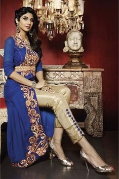 Indian ethnic wear online shopping for bollywood salwar suit collection. Shop online stupendous Shilpa Shetty georgette embroidered, resham and zari work designer salwar suit. Designer Salwar Suits, Designer Anarkali, Bollywood Saree, Bollywood Fashion, Patiala, Salwar Kameez, Churidar, Indian Dresses, Indian Outfits