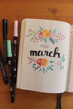 #hellomarch #march #bulletjournal #bujo #handlettering #brushlettering #flowers #märz #spring #watercolor #aquarell
