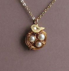 Mama Bird Singing Sweetly to Her Nest -- Gold Necklace