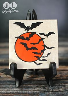 Vinyl Bat Swarm Travertine Tile Drink Coaster vinyl coaster Halloween Silhouette Cameo