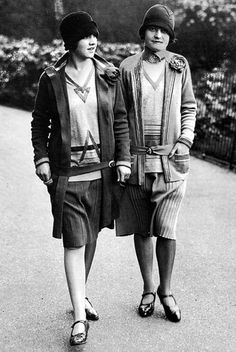 * Knitted jersey outfits by Wilson's of Great Portland Street in London in the pioneering styles of Chanel and Patou 1928