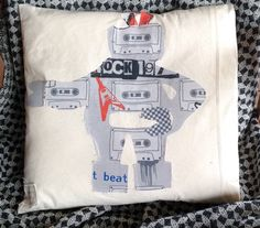 Rocker Robot calico cotton cushion cover by MuddyKoolDesigns Refashion, Robot, Upcycle, Cushions, Range, Cover, Cotton, Handmade, Throw Pillows
