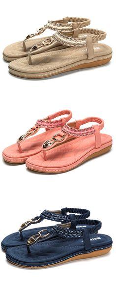 Metal Beaded Bohemia Clip Toe Elastic Flat Sandals