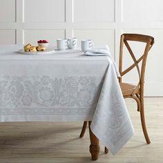 Vintage Floral Jacquard Tablecloth #williamssonoma