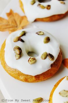 Pumpkin Donuts with Cream Cheese Frosting and Candied Pepitas | From My Sweet Heart