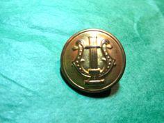 "1 - 7/8"" WATERBURY LYRE DECOR GOLD METAL SHANK UNIFORM BUTTON - VINTAGE Lot#CA77"