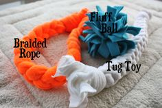 how to make a fleece dog tug toy.  Saw these at the houston dog show, may dog owners where using these in agility and flyball at the end of event to redirect the dogs attention.
